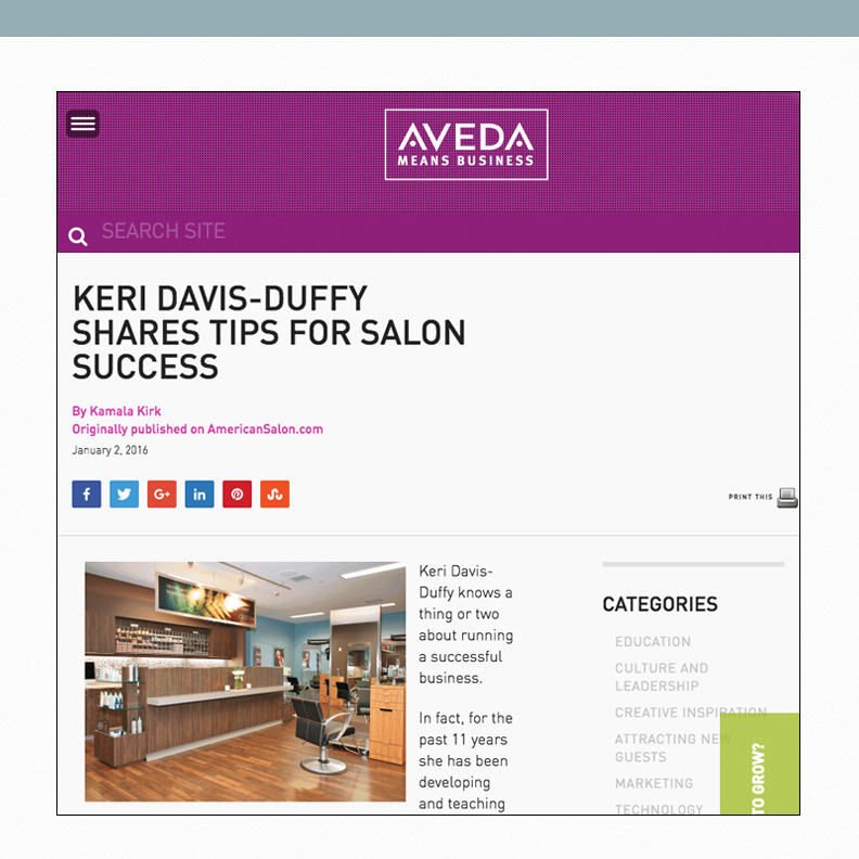 Keri Davis-Duffy Shares Tips for Salon Sucess
