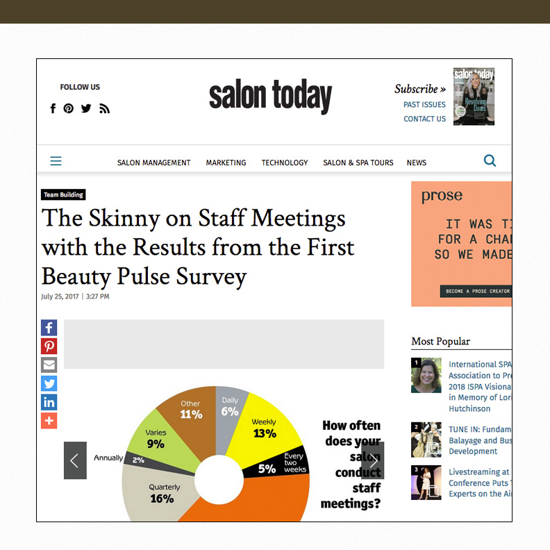 The skinny on staff meetings with the results from the first beauty pulse survey